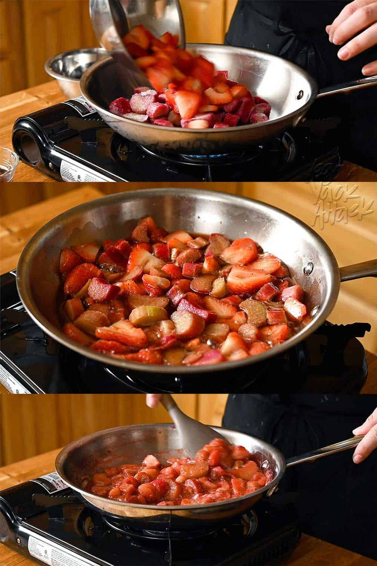 Image collage of strawberries and rhubarb cooking in a pan