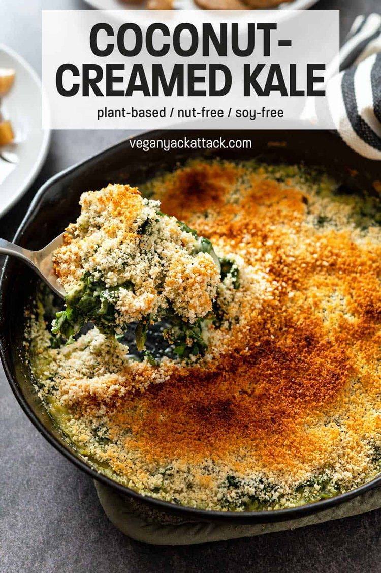 "Spoon scooping creamed kale out of a cast iron skillet with text reading ""Vegan Coconut-Creamed Kale"""