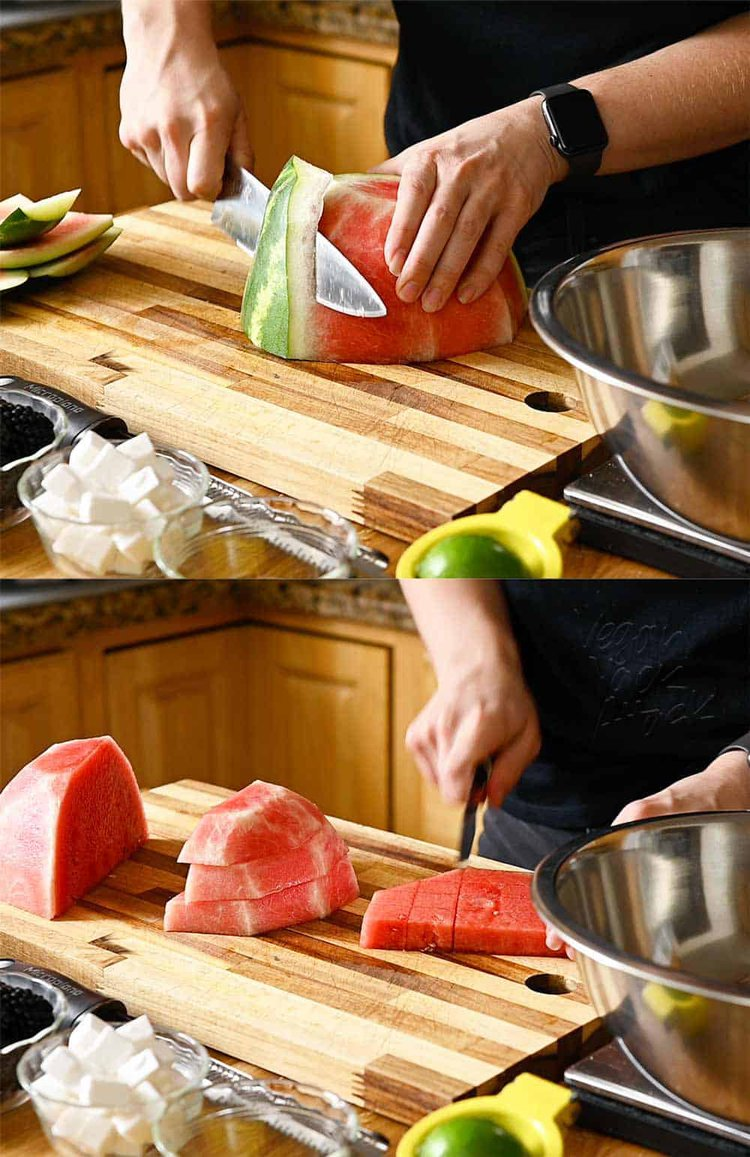 Image collage of prepping watermelon and cubing it for salad