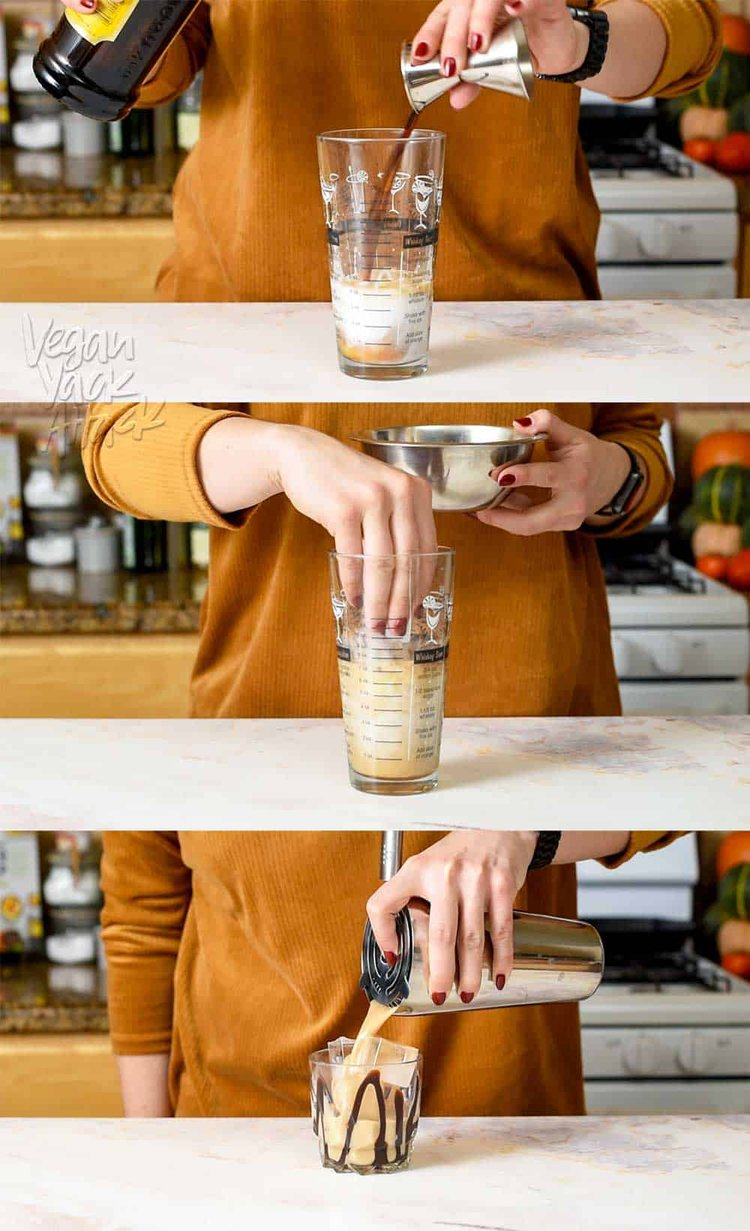 Image collage of making dessert cocktail in a shaker glass on marble counter, with yellow sweater on
