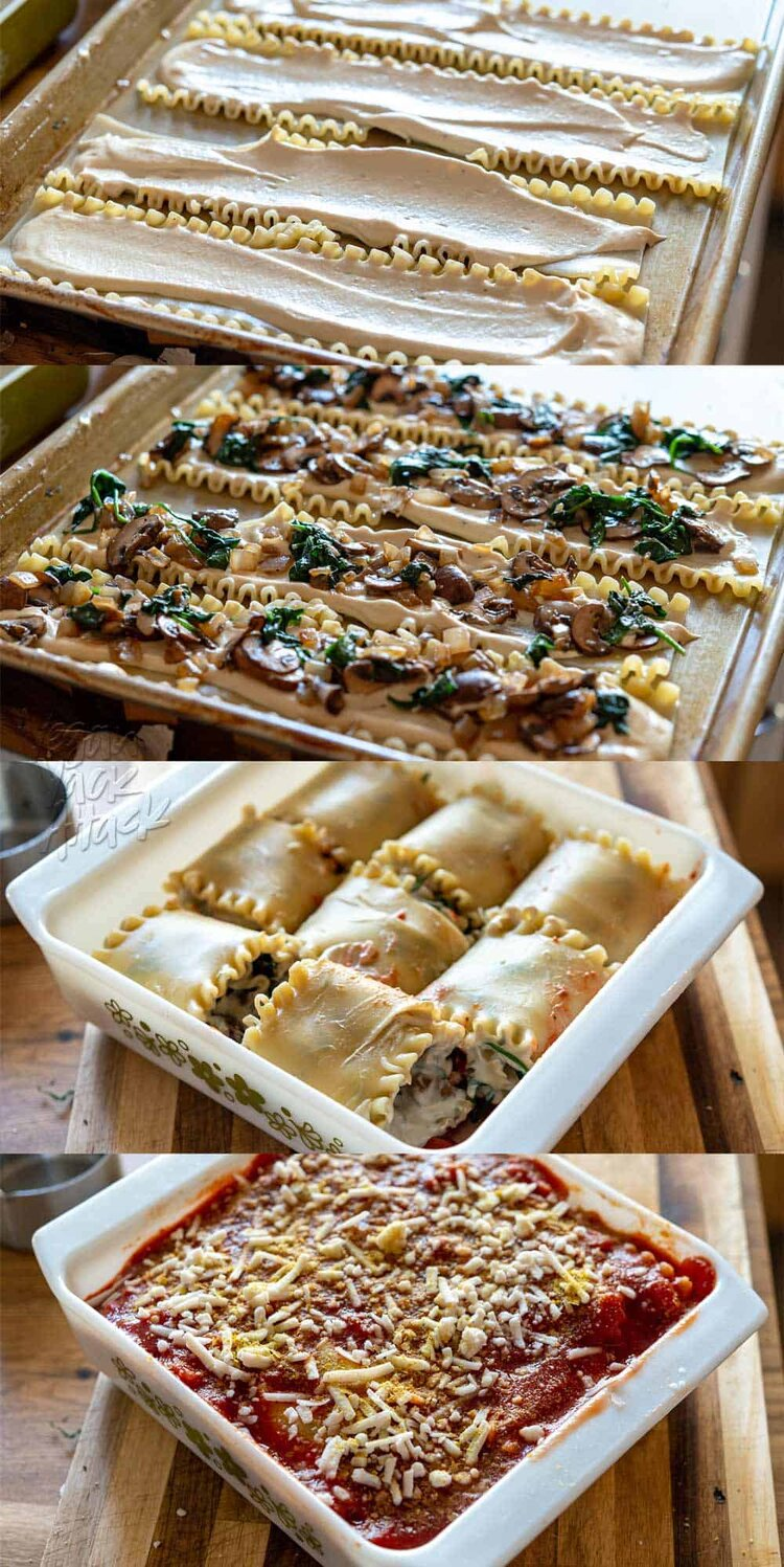 Image collage of filling and Assembling spinach mushroom lasagna rolls