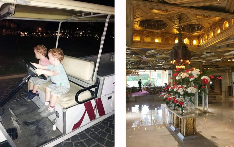 Liam and Santiago enjoyed so much playing in the luggage cart. Beside the beautiful classy Marriot Mena House reception area