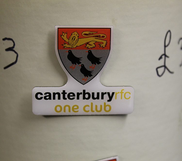 Canterbury Rugby Club metal pin badge.