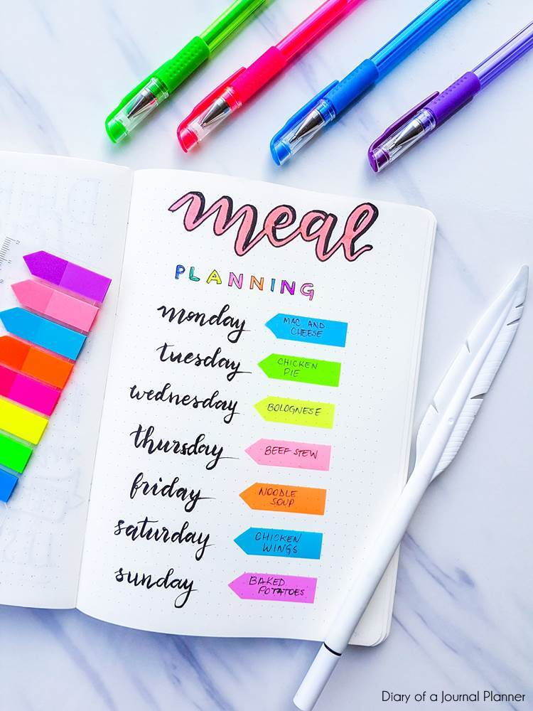 meal planning bullet journal collection