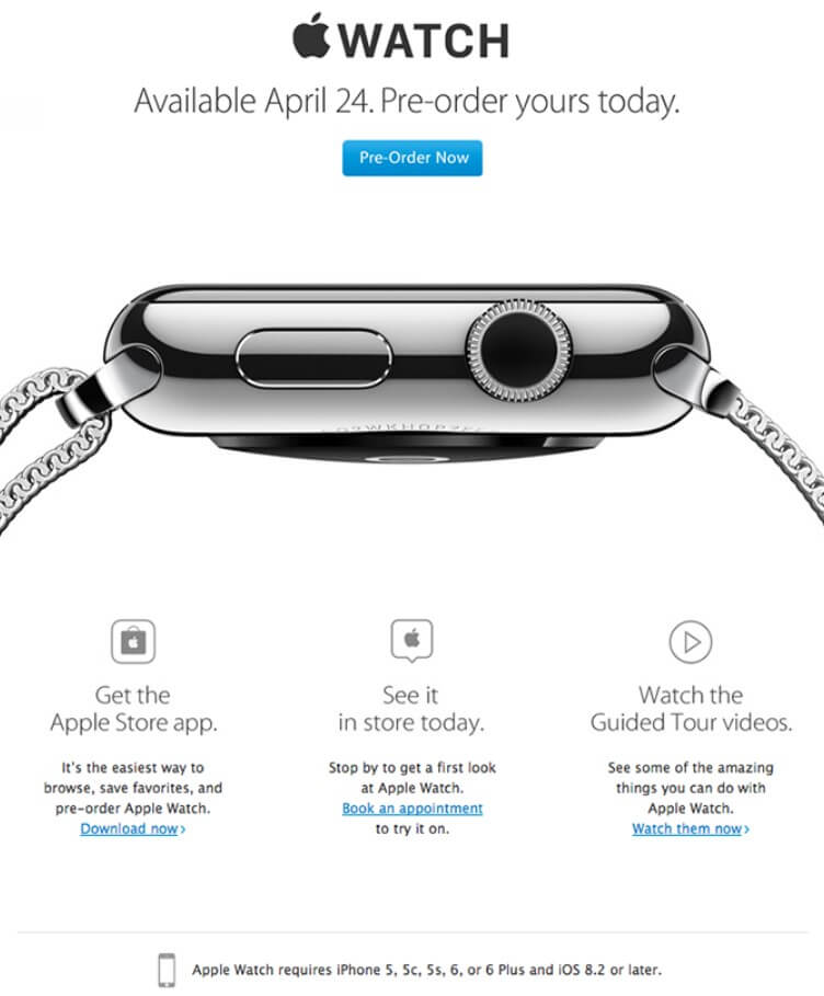 Apple Watch available for pre-order announcement email example