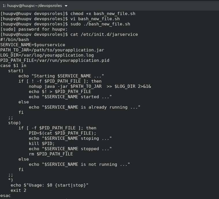 Bash create new file with content