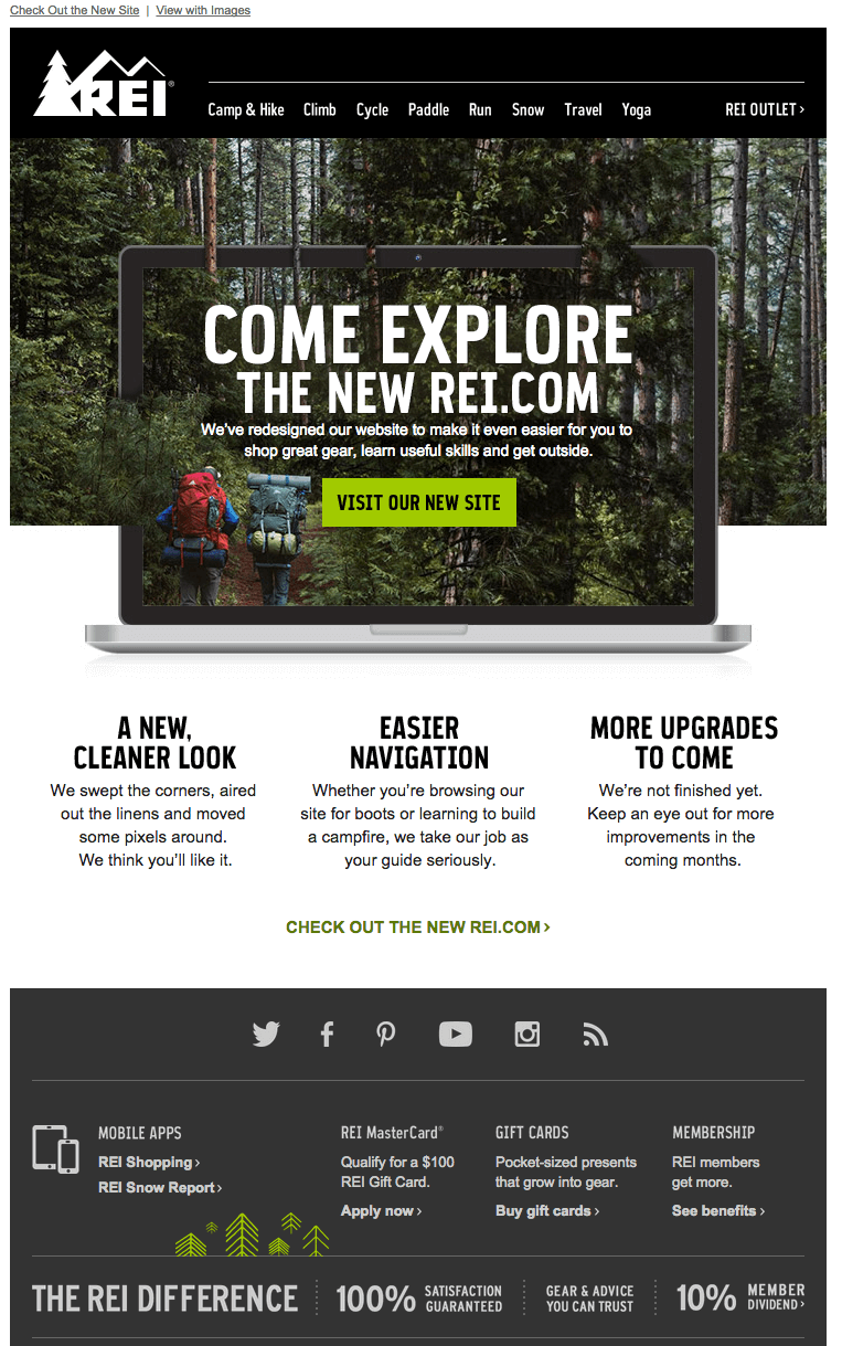 Come explore the new Rei.com new website launch email example