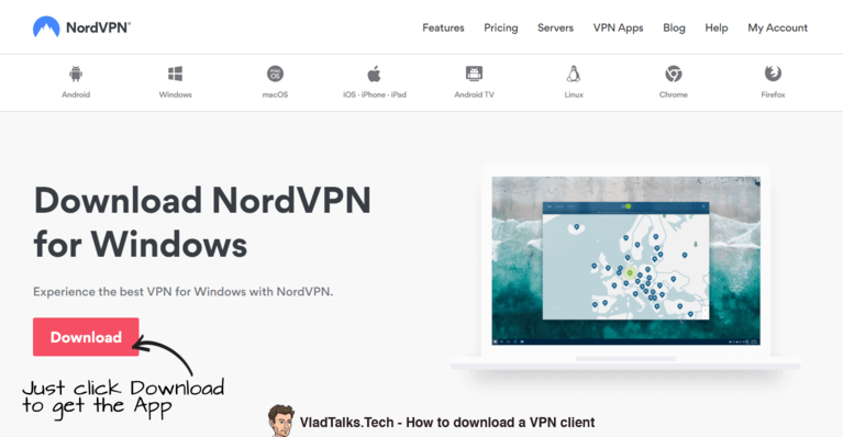 How to download a VPN app example by VladTalksTech - NordVPN