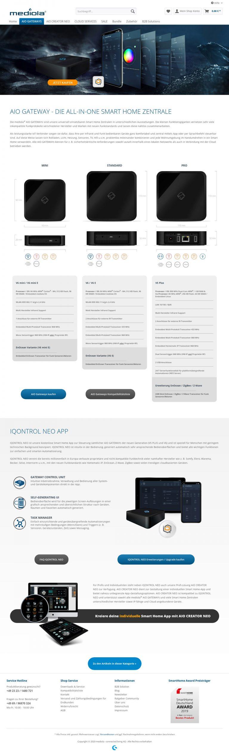 shopware design für mediola - frontend