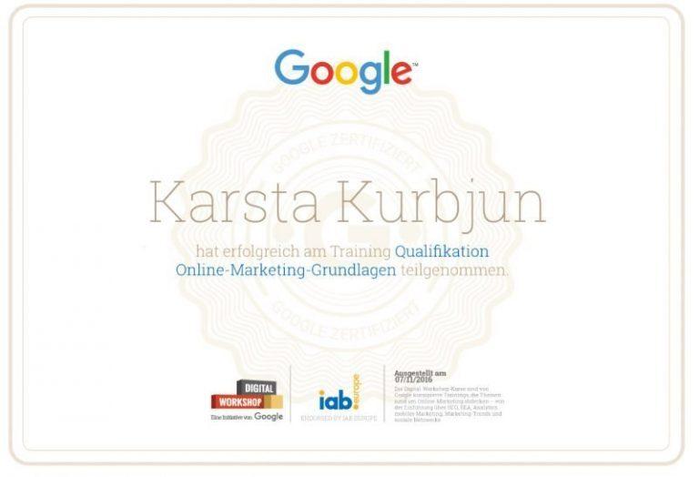 Google Digital Workshop Zertifikat Karsta Kurbjun