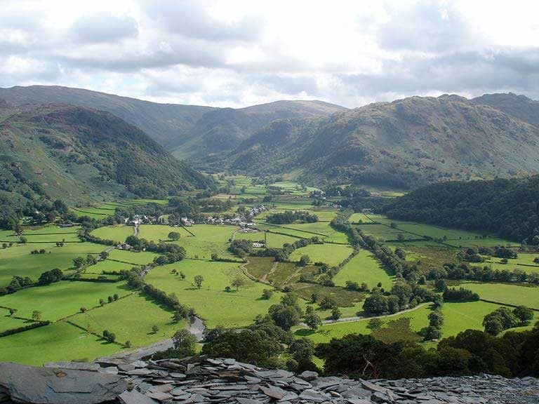 A view of the Borrowdale glacial valley
