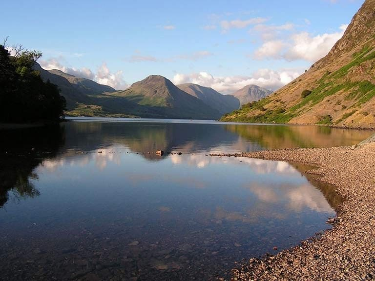 A tranquil Wast Water in the western Lake District, England's deepest lake