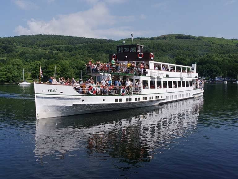 One of the ferries transporting tourists who visit Lake Windermere