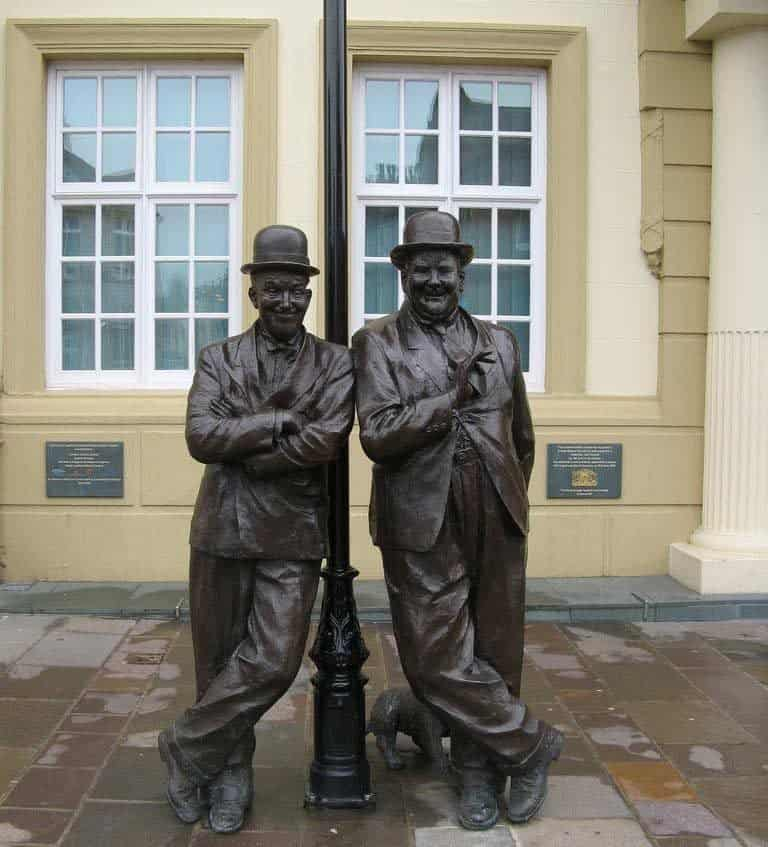 The Laurel and Hardy statues in Ulverston near the English Lake District