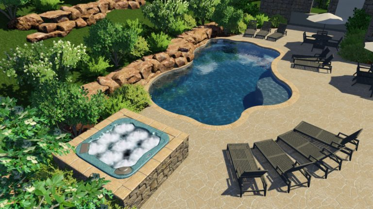 Custom Freeform Pool Model with Hot Tub