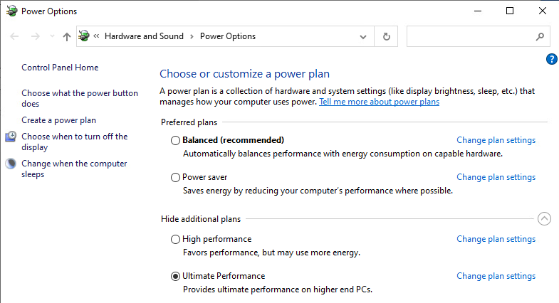 Windows 10 EVD doesn't have Ultimate Performance — only High Performance