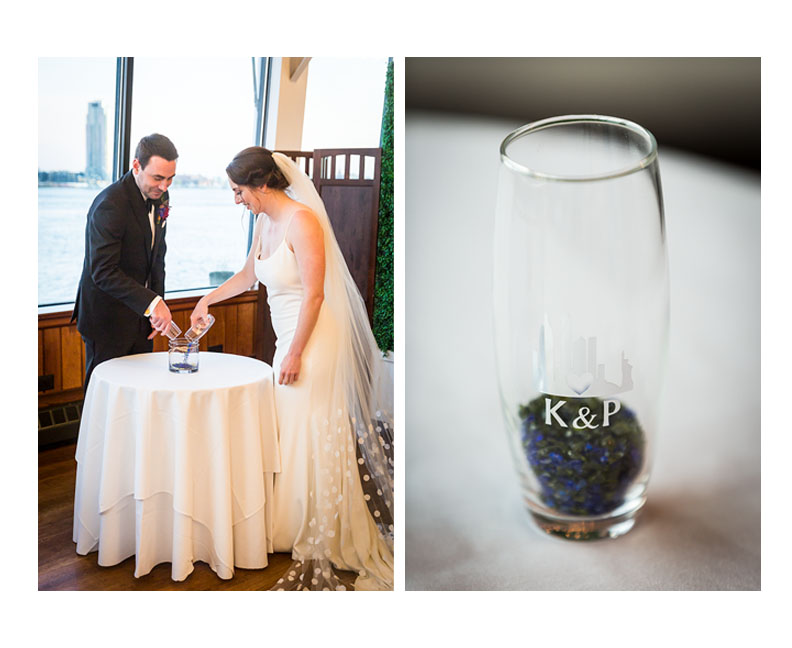 Bride and groom performing glass ceremony at a Water Club wedding