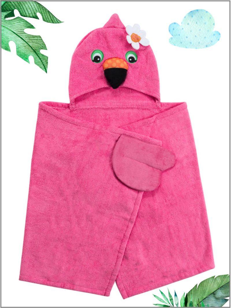 frederickandsophie-kids-bath-zoocchini-towel-flamingo