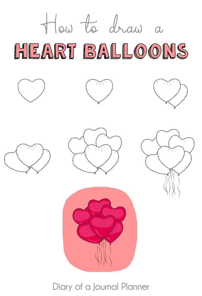 heart balloons doodle