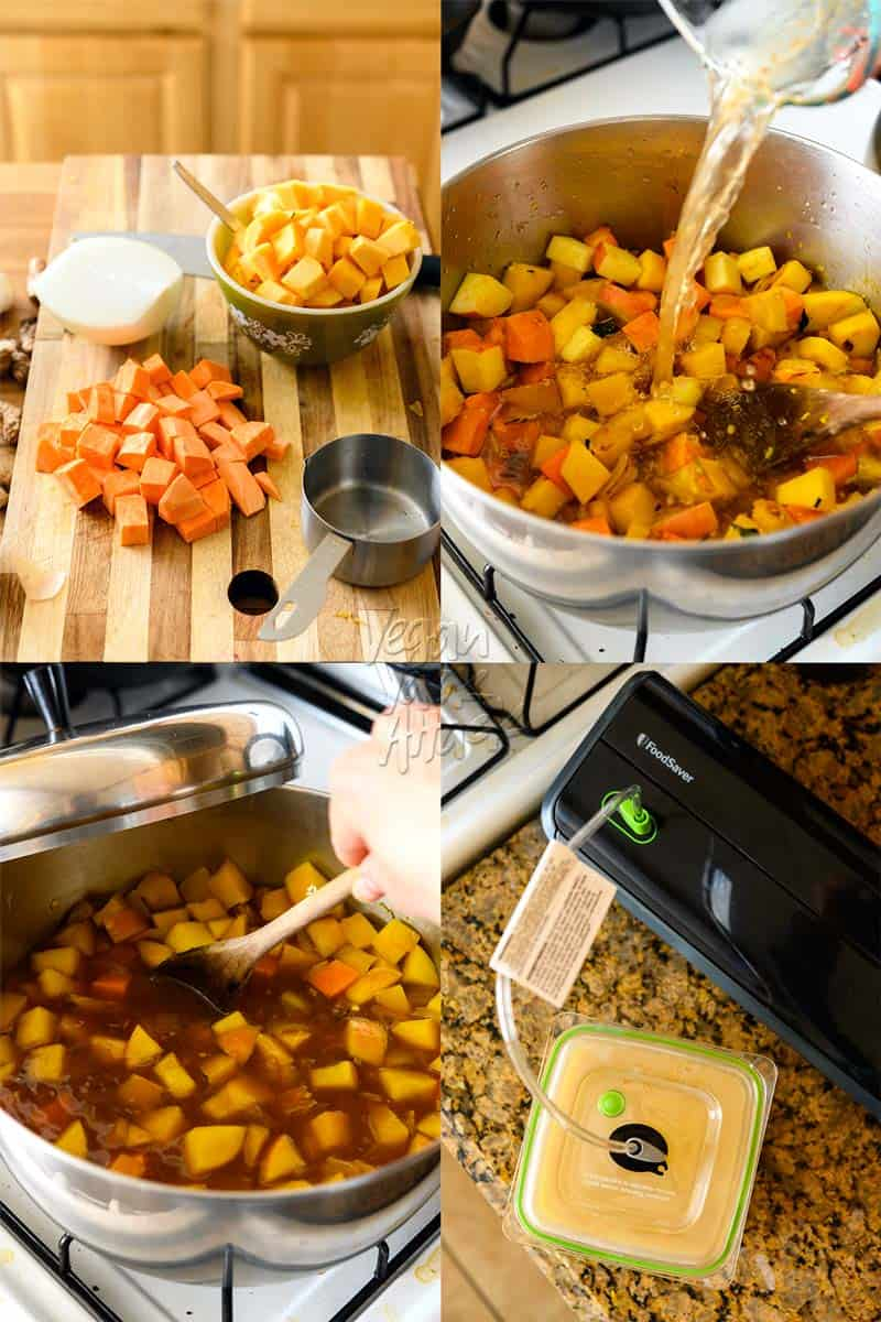 4 images of ginger squash soup prep with pot, simmering, blending, and storing