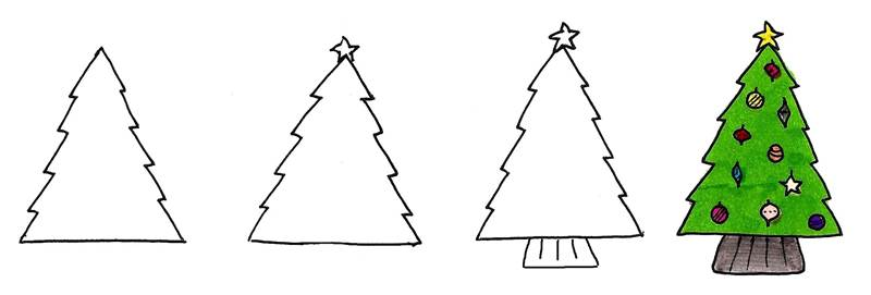 Christmas tree doodles for your journal