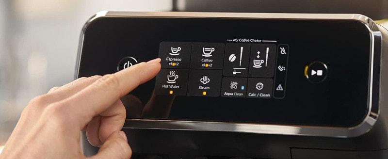 Cafetiere a grains philips EPP2220 10 ecran tactile panneau de control