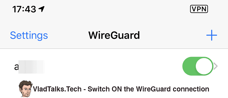 Switch ON the WireGuard connection