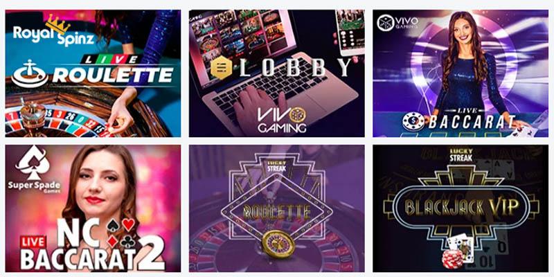 live à RoyalSpinz Casino