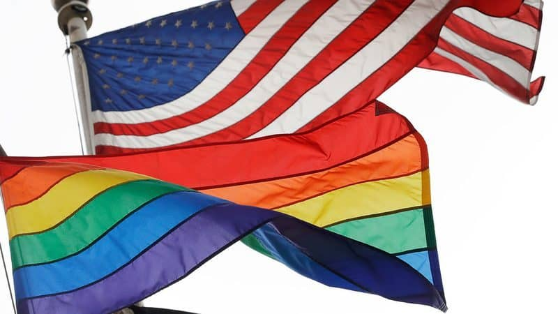 Rainbow and US Flag together
