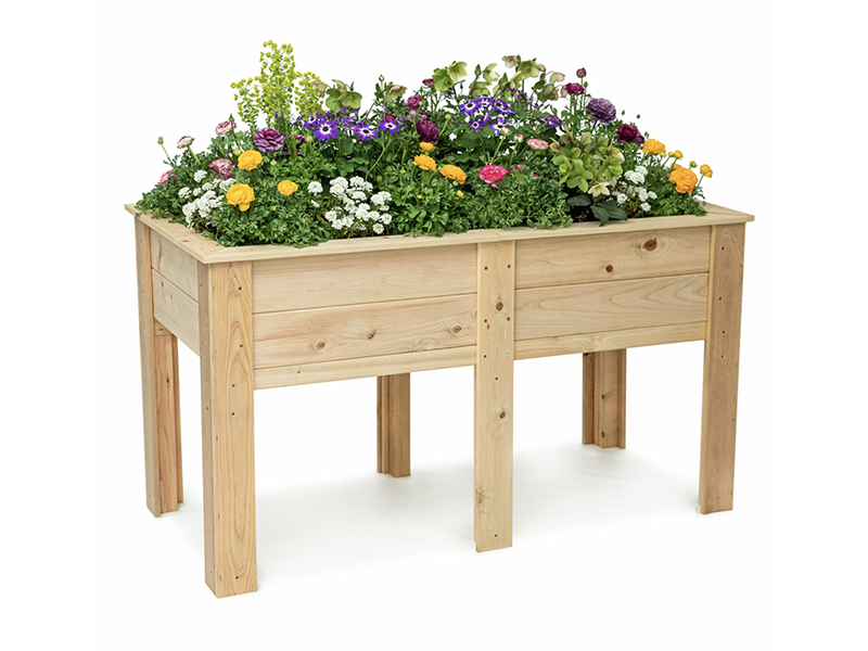 elevated planter box with flowers