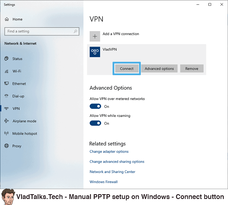 Manual PPTP setup on Windows - Connect to the VPN