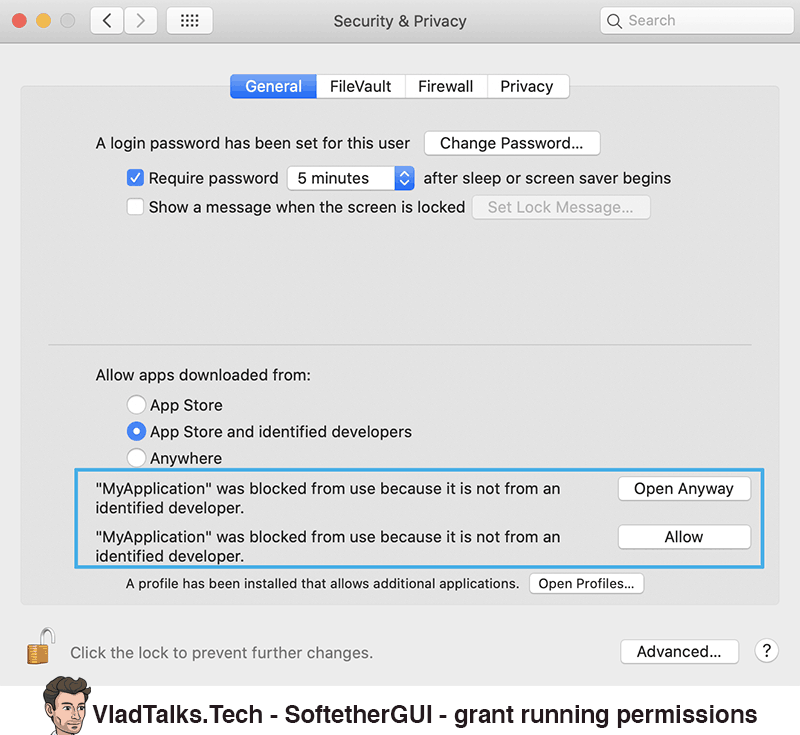 SoftetherGUI - Grant permissions - How to use Softether Mac