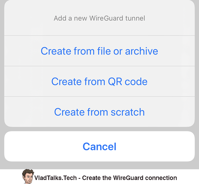 Create WireGuard connection options