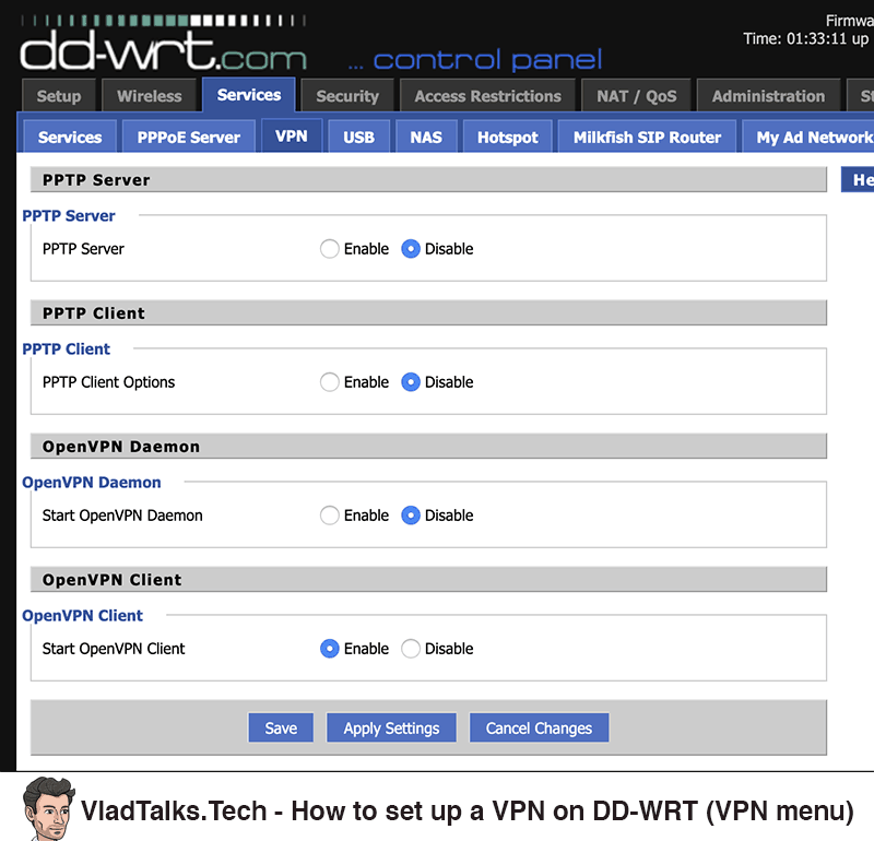 How to set up a VPN on a DD-WRT router - VPN menu