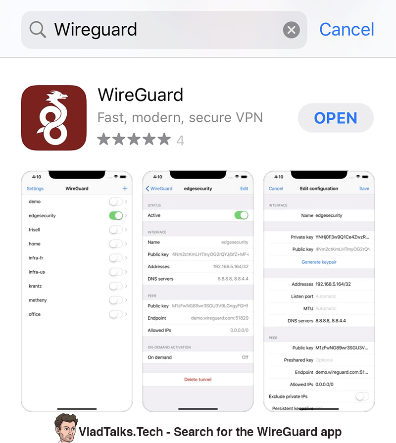 WireGuard on iOS - search the WireGuard app