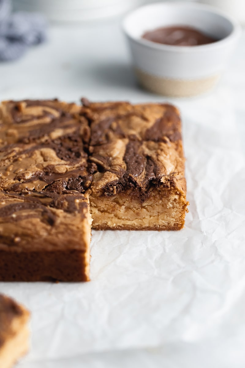 peanut butter and nutella swirled blondies