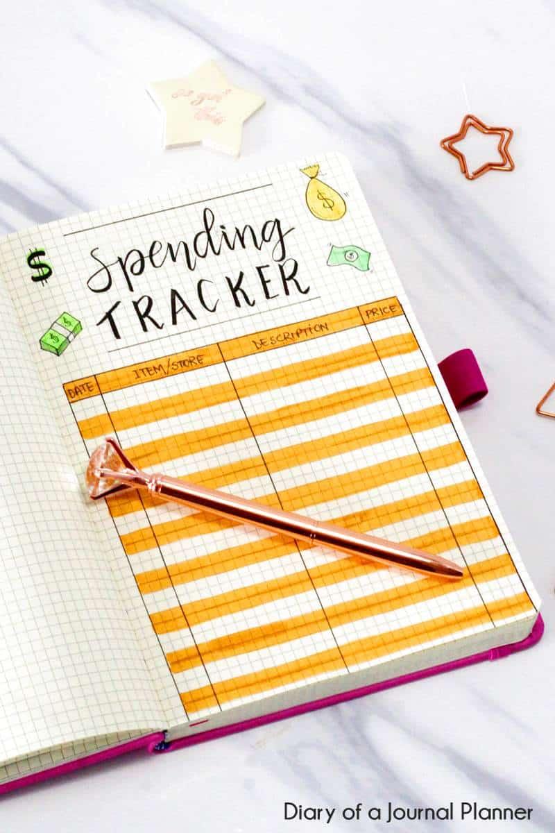 bullet journal spending tracker