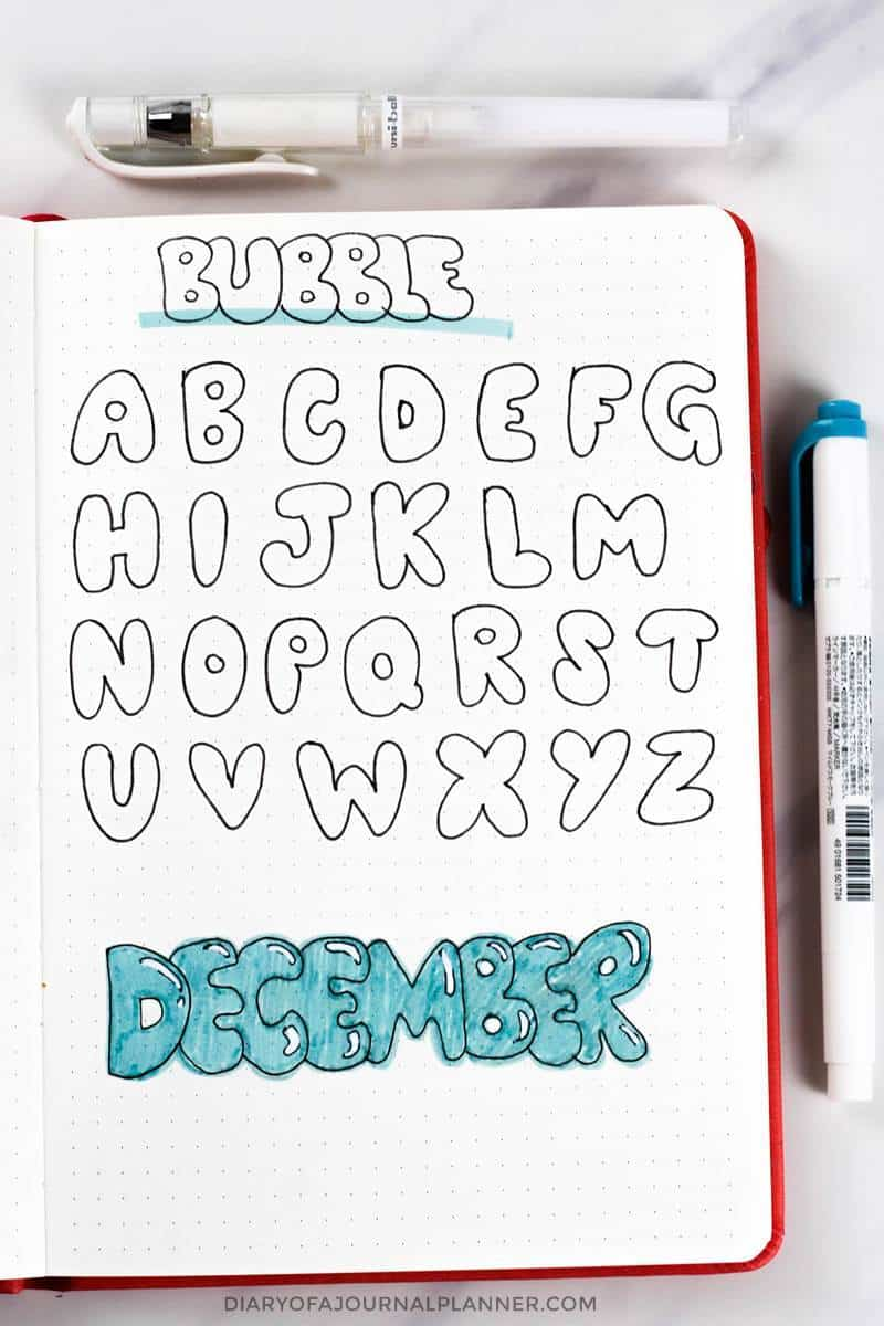 bubble font for bullet journal