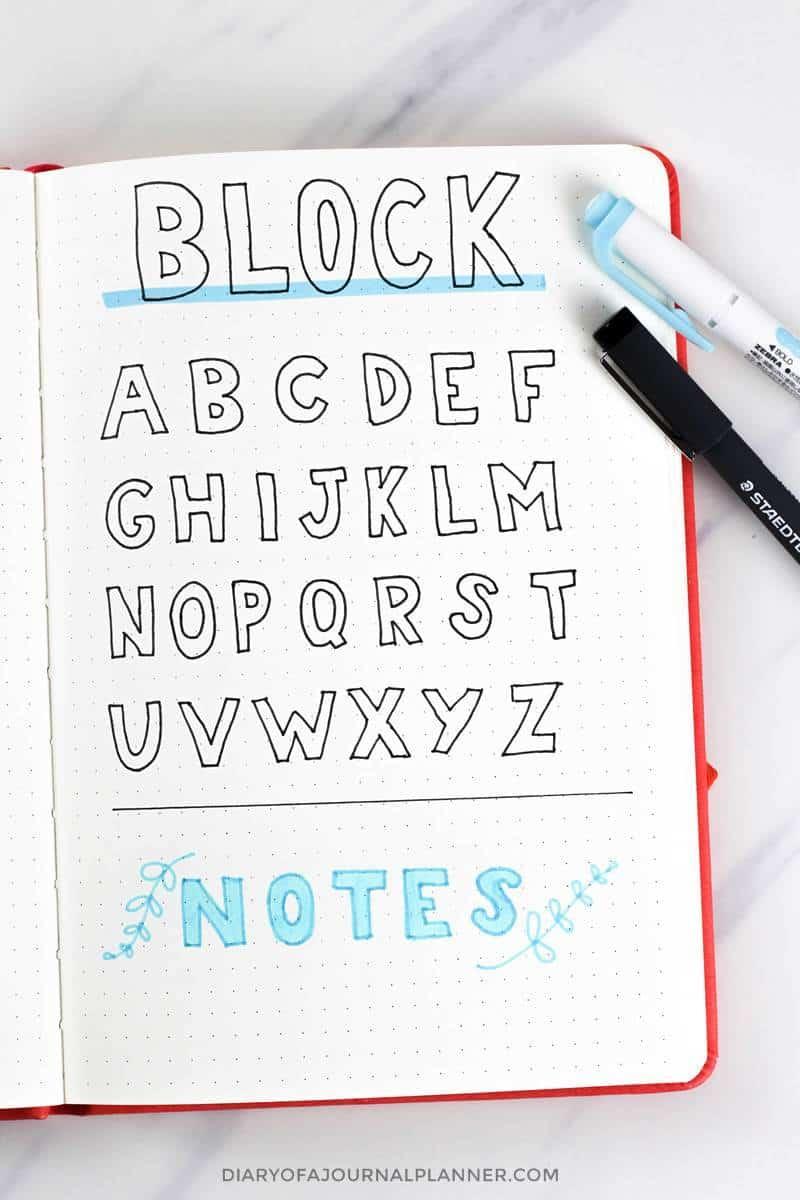 block letters for bujo