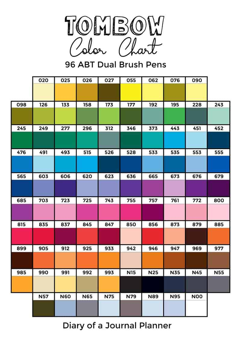 Tombow dual brush pen color chart 2020