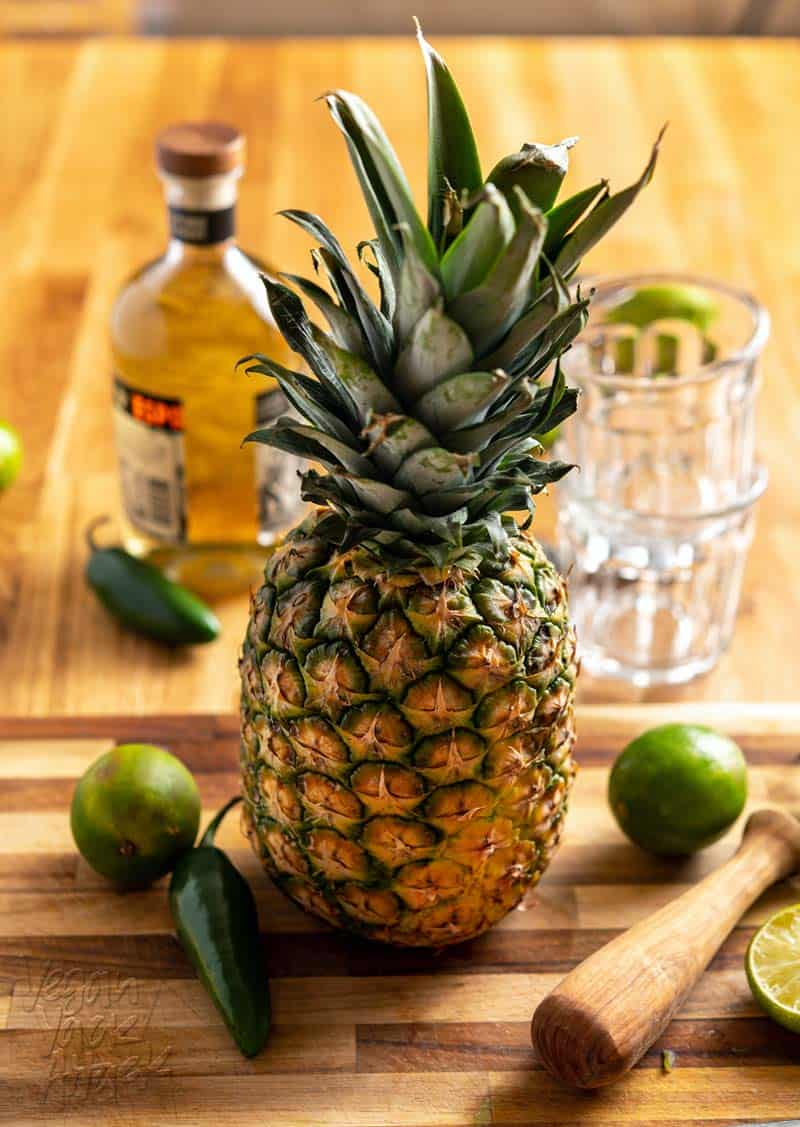 Pineapple, jalapeno, lime, and tequila reposado