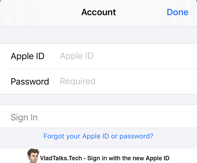Sign in with the new Apple ID