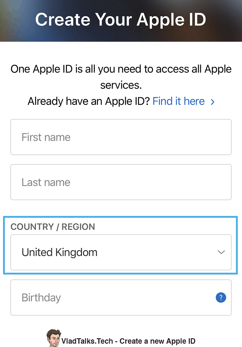 Watch BBC - Create new Apple ID
