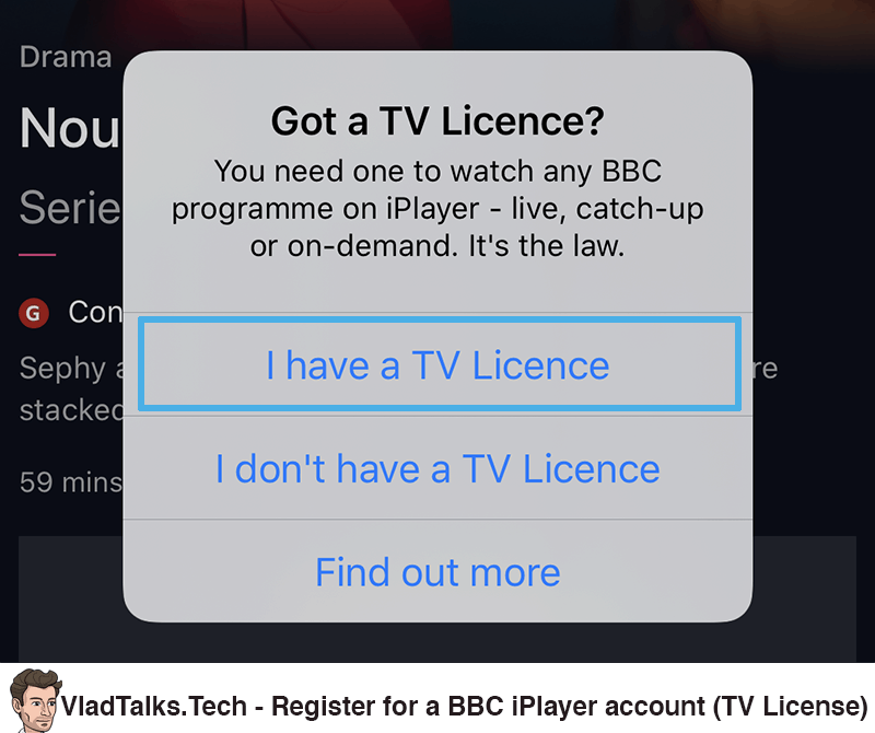 Register a BBC iPlayer account (TV License)