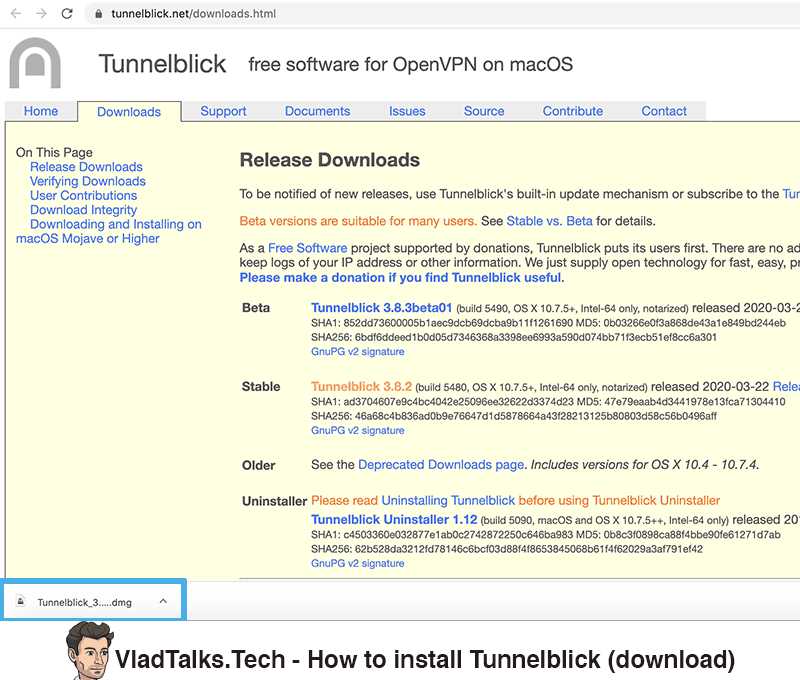 How to install Tunnelblick on Mac (download)