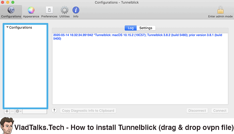 How to install Tunnelblick - Drag and drop config file