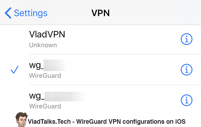 WireGuard VPN configurations on iOS (Settings > VPN)