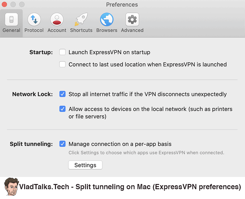 ExpressVPN preferences - How to set up split tunneling on Mac