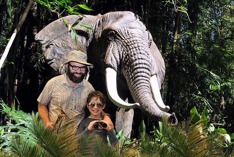 A Miami green screen photo booth at Jungle Island with an elephant as a background