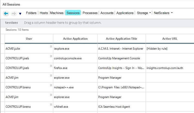 New columns in ControlUp Real-Time Console Session View